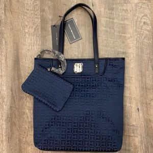Tommy Hilfiger navy blue two in one tote/pouch